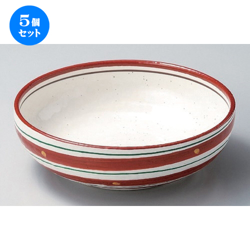 5個セット☆ 組ボール ☆赤絵二色渦6.5鉢 [ 19.6 x 7.5cm 703g ] 【 料亭 旅館 和食器 飲食店 業務用 】