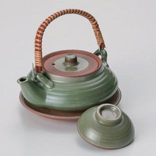 5個セット☆ 土瓶むし ☆グリーン平形土瓶むし [ 11.6 x 5cm (240cc) 370g ] 【 料亭 旅館 和食器 飲食店 業務用 】