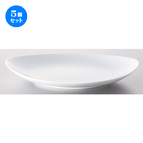5個セット☆ ボーダーレススタイル ☆白磁パーティープレート23cm [ 23 x 18 x 3.4cm 392g ] [ ホテル レストラン 洋食器 飲食店 業務用 ]