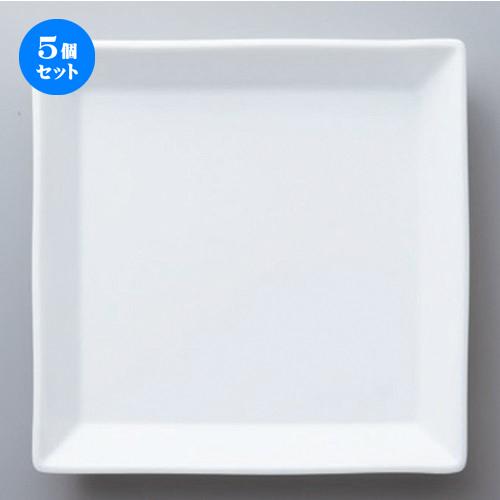 5個セット☆ ボーダーレススタイル ☆白磁正角22cm皿 [ 22.5 x 3.2cm 655g ] 【 ホテル レストラン 洋食器 飲食店 業務用 】