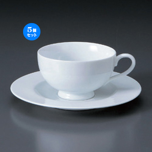 5個セット☆ コーヒーカップ ☆U.E高台ティーC/S [ 12.5 x 10 x 5.8cm 180cc ・ 16.6 x 1.8cm ・ 347g ] 【 カフェ レストラン 洋食器 飲食店 業務用 】