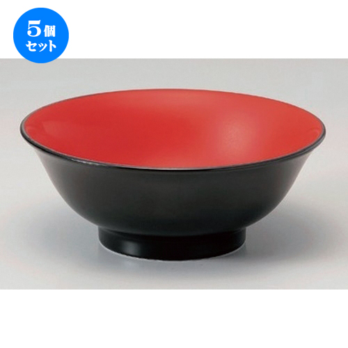 5個セット☆ ラーメン鉢 ☆赤黒6.5反丼 [ 20.4 x 8cm 654g ] [ ラーメン店 中華食器 飲食店 業務用 ]
