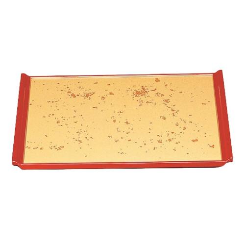 お盆 宴盆色紙金箔渕朱2尺 [59.6 x 44.7 x 2.3cm] ABS樹脂 (7-24-2) 【料亭 旅館 和食器 飲食店 業務用】