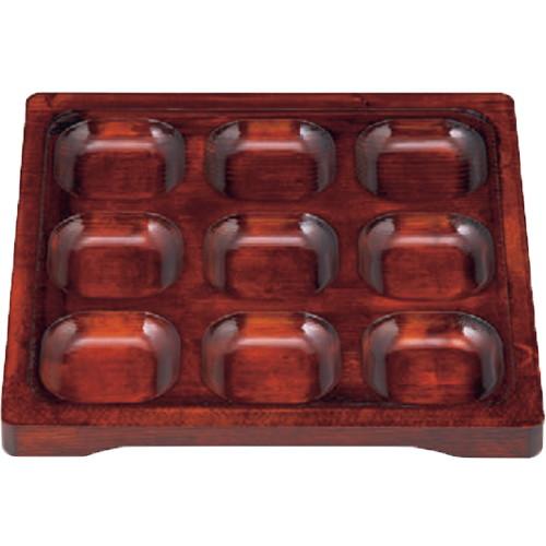 盛器 木製9ツ穴プレート(深)ブラウン [27.1 x 27 x 2.4cm] 木製品 (7-582-4) 【料亭 旅館 和食器 飲食店 業務用】