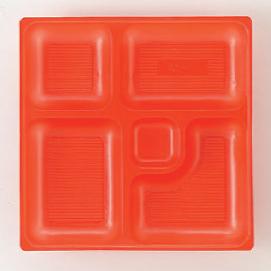 幕の内弁当 W-1 8寸角P.S朱仕切薄型 1梱 2000枚入り P.S (7-443-5) 【料亭 旅館 和食器 飲食店 業務用】