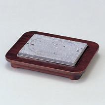鉄器 石焼セット(小) [22 x 17.5 x 3cm ・石板 15 x 11 x 1.8 cm] (7-919-23) 【料亭 旅館 和食器 飲食店 業務用】