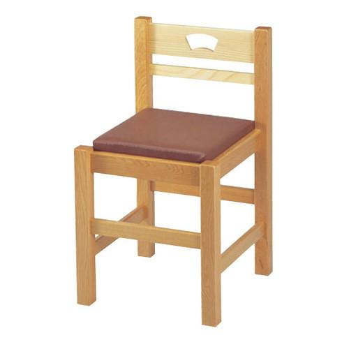 椅子 背付切抜き 白木塗(座)茶レザー [40 x 42 x H70 x SH43cm] 木製品 (7-775-5) 【料亭 旅館 和食器 飲食店 業務用】