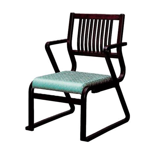 椅子 肘付格子高椅子グリーン(布) [51 x 57 x H78 x SH36cm] 木製品 (7-770-6) 【料亭 旅館 和食器 飲食店 業務用】