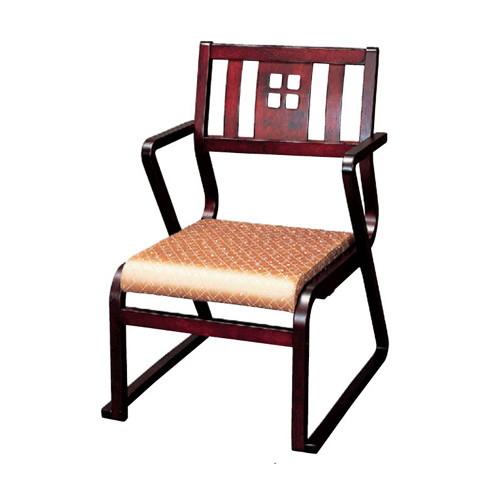 椅子 肘付幸楽高椅子ワインカラー、ベージュ(布) [51 x 57 x H78 x SH36cm] 木製品 (7-770-7) 【料亭 旅館 和食器 飲食店 業務用】