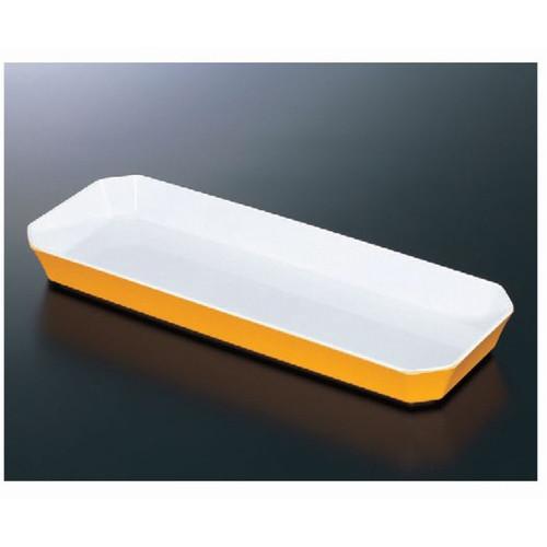 トレー ロイヤルバットT-04ホワイトイエロー [41.5 x 15.5 x 4.3cm] 熱硬化性樹脂(メラミンまたはユリア樹脂) (7-136-3) 【料亭 旅館 和食器 飲食店 業務用】