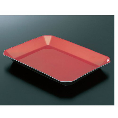 トレー ロイヤルバットT-01朱 [41.5 x 31 x 4.3cm] 熱硬化性樹脂(メラミンまたはユリア樹脂) (7-136-8) 【料亭 旅館 和食器 飲食店 業務用】