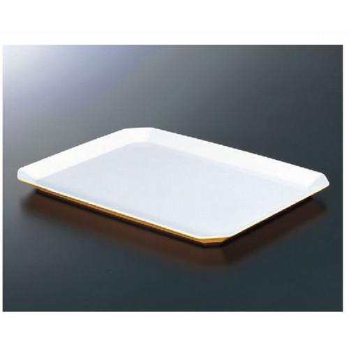 トレー ロイヤルバットT-02ホワイトイエロー [41.5 x 31 x 2.5cm] 熱硬化性樹脂(メラミンまたはユリア樹脂) (7-136-9) 【料亭 旅館 和食器 飲食店 業務用】