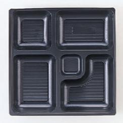 幕の内弁当 W-4 8.5寸角P.S黒仕切薄型 1梱 2000枚入り P.S (7-443-15) 【料亭 旅館 和食器 飲食店 業務用】