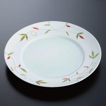 陶器 洋皿グリーン一珍若草(有田焼) 25 [25.2φ x 2.5cm] 陶 (7-938-13) 【料亭 旅館 和食器 飲食店 業務用】