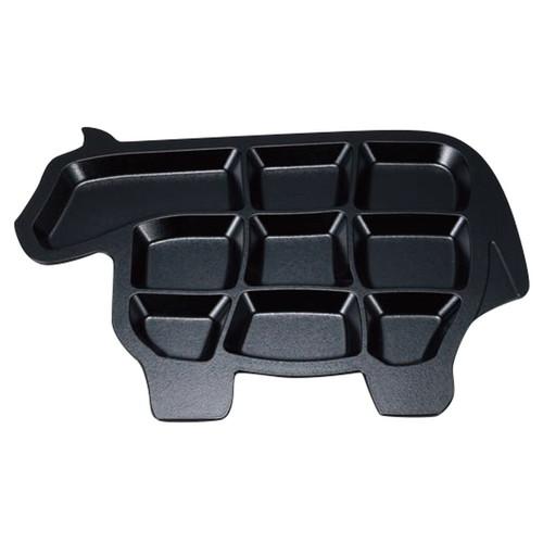 ニュー牛プレート 黒石目 [ 41.8 x 32 x 2.2cm ] [ 変形皿 ] | 飲食店 焼肉 居酒屋 和食 精肉店 業務用