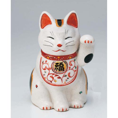 招瓷绫 manpuku 阿拉伯式花纹招财 (左手向上-英寸) 高 16.5 厘米吉祥物目前传统