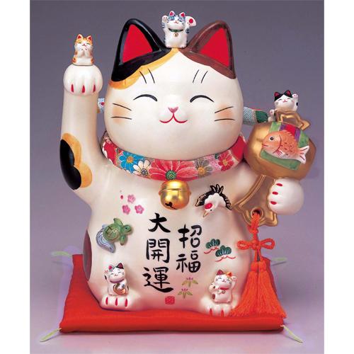 招き猫 彩絵招福大開運招き猫 8.5号 [高さ26.5cm]【縁起物 置物 インテリア かわいい】