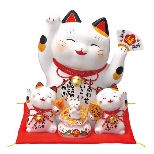 招き猫 彩絵お金まねき猫(萬福まねき)(貯金箱) [高さ28cm]【縁起物 置物 インテリア かわいい】