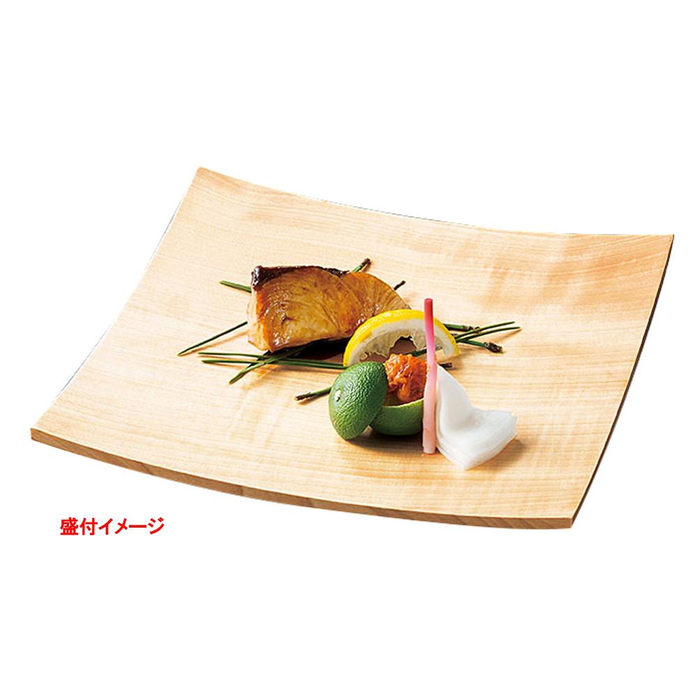 栃・8寸ハソリ角皿 (クリアー) [ 約24 x 24 x H3cm ] 【 料理箱 】 | 和食 和食器 旅館 料亭 ホテル 飲食店 業務用 自宅用