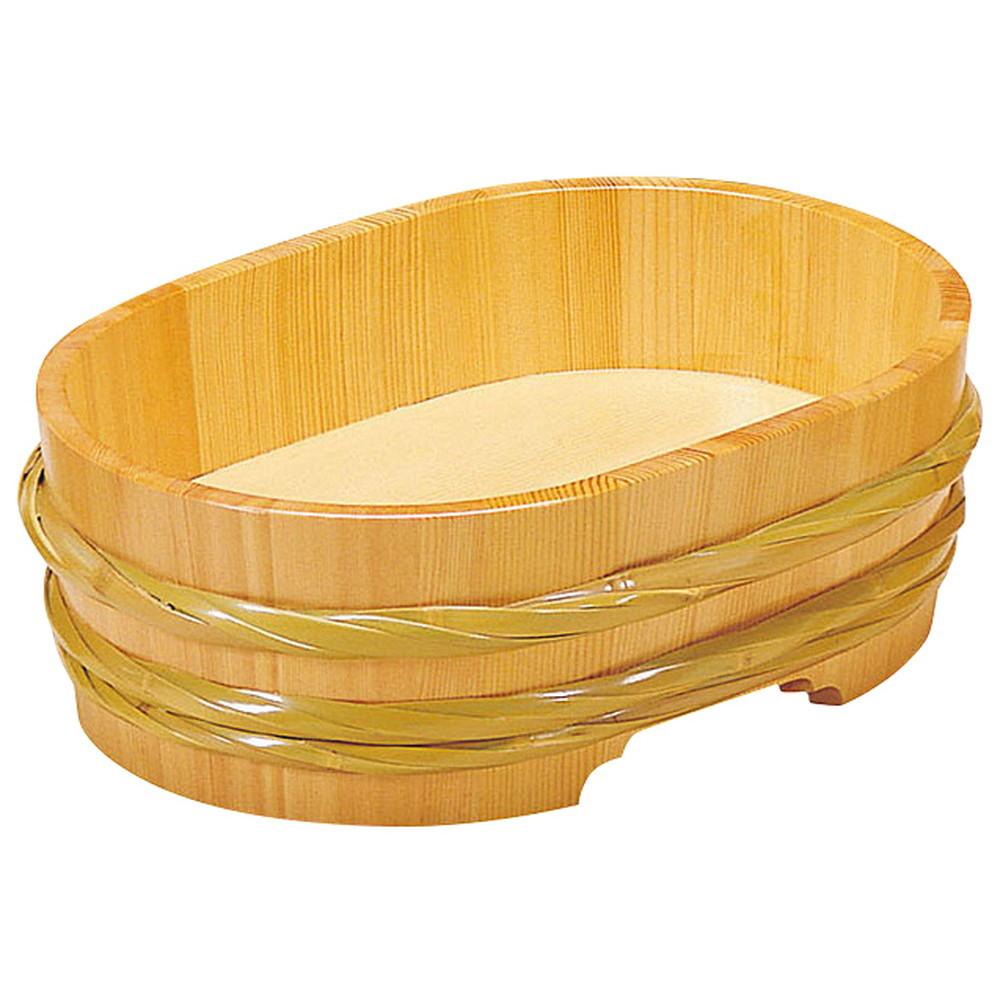サワラ・竹 飾桶 (クリアー) 小判型 [ 約39 x 28 x H14(内高約7.5)cm ] 【 桶 】 | 和食 店舗 旅館 料亭 什器 業務用
