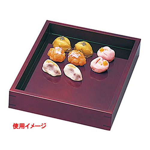 溜塗菓子番重 小 [ 約26 x 33.5 x H5.5cm ] 【 番重 】   店舗 陳列 和食 和菓子 甘味 什器 業務用