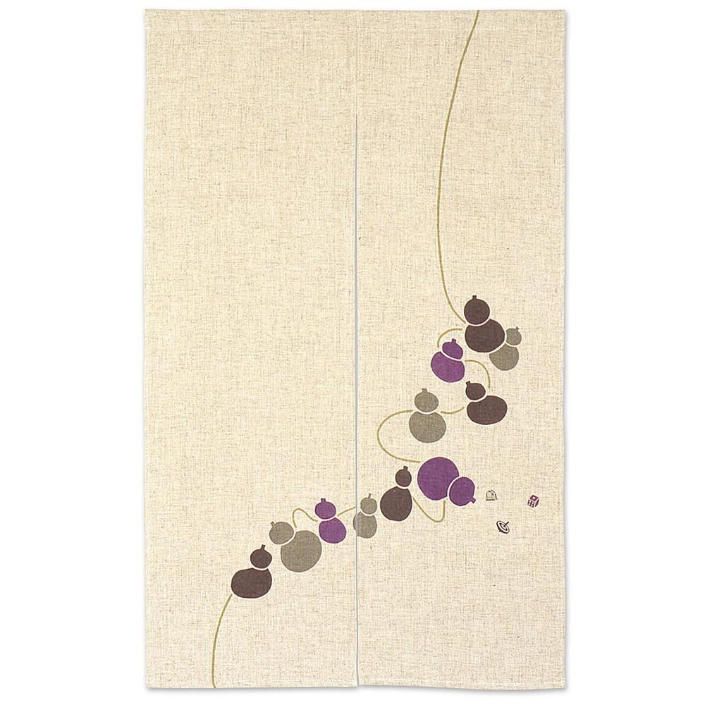生成り地のれん ひょうたんからこま 紫 [ 約85 x 135cm ] 【 のれん 】 | 飲食店 店舗 暖簾 入口 軒先 業務用 自宅用