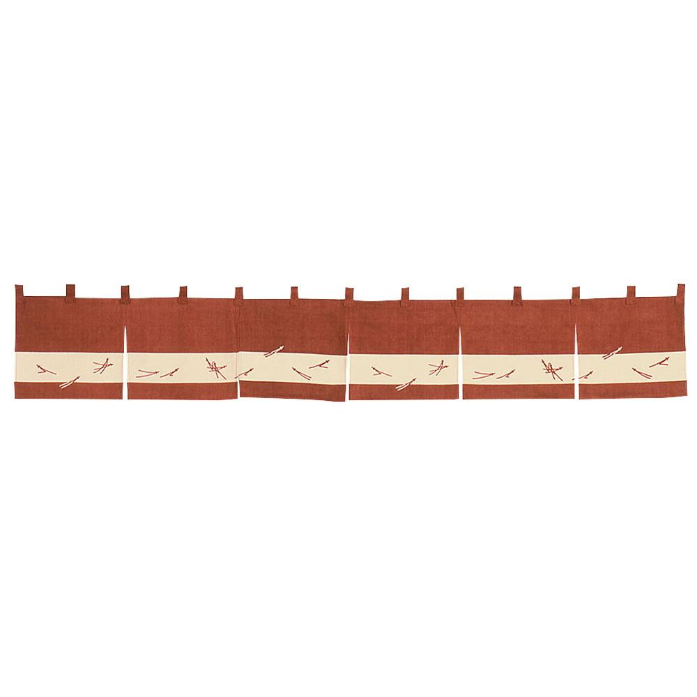 のれん 松葉ちらし えび茶 [ 約170 x 25cm ] 【 のれん 】   飲食店 店舗 和食 厨房 入口 軒先 暖簾 業務用