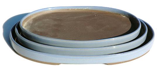清峰窯 定番の人気シリーズPOINT(ポイント)入荷 盆石に最適 美品 10号水盤 三ツ揃 極浅小判型