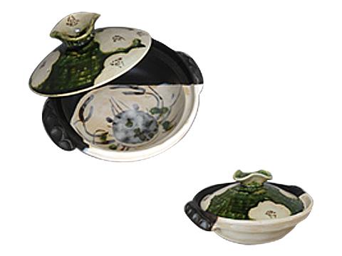 織部椿蟹7号土鍋