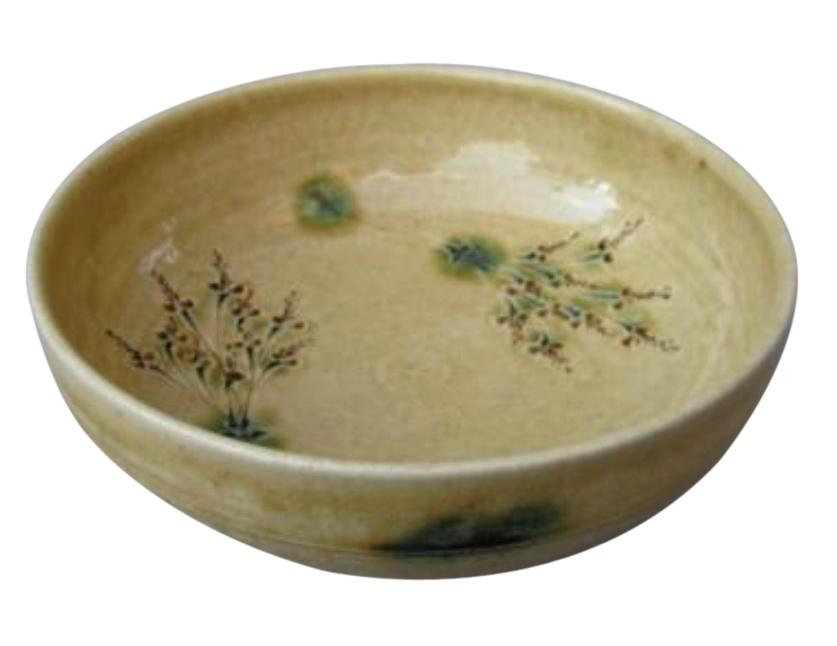 黄瀬戸草紋菓子鉢