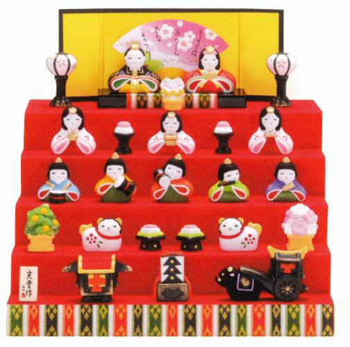 錦彩 花かざり雛 五段飾 出産祝い 陶器 ひな人形 雛人形 桃の節句 雛祭 内祝 誕生日 お祝 お雛様 お雛さま おひな様 ひな祭り