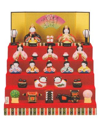錦彩 みやび 五段飾 雛 出産祝い 陶器 桃の節句 雛祭 内祝 誕生日 お祝 お雛様 お雛さま おひな様 ひな祭り