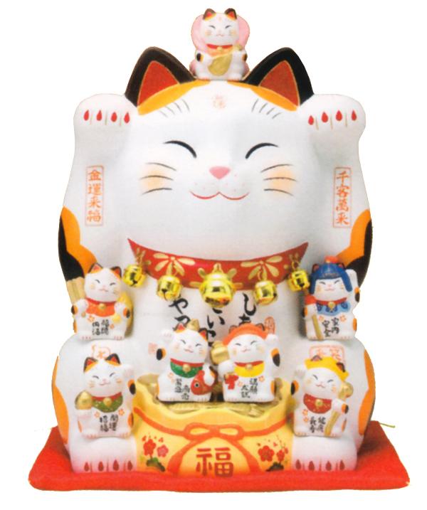 錦彩七福神招き猫8.5号