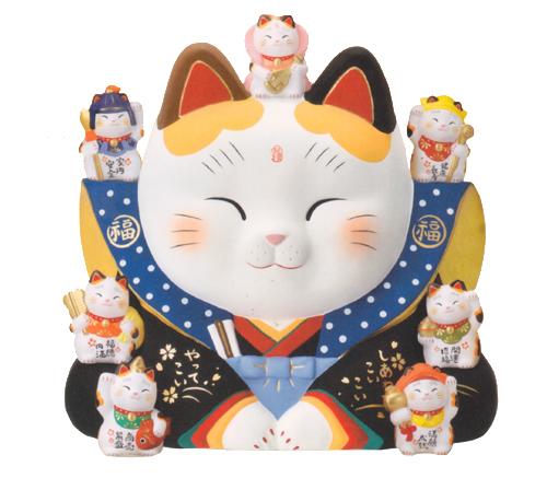 錦彩 七福神 福助 招き猫 10号 大きめ