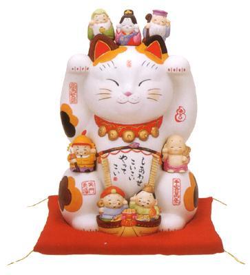 彩絵七福神招き猫11号【楽ギフ_メッセ】【楽ギフ_メッセ入力】【楽ギフ_のし】