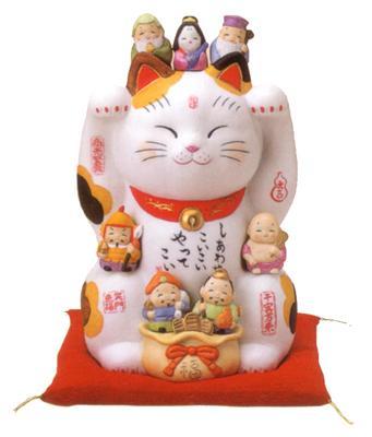 彩絵七福神招き猫8号【楽ギフ_メッセ】【楽ギフ_メッセ入力】【楽ギフ_のし】