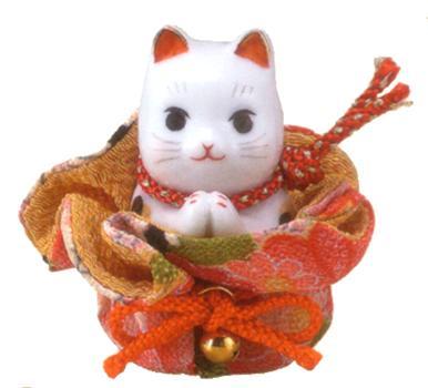 縁起物 開店祝い 結婚祝い 出産祝い 還暦祝い 人気ブランド お祝い 誕生日プレゼント 彩絵ふく福巾着おねがい猫 開運 贈り物に 招福 保障 招き猫 陶器