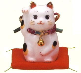 特別セール品 招き猫 置物 チープ 贈り物 開運 右手上げ 彩絵ふく福招き猫小 縁起物 紫