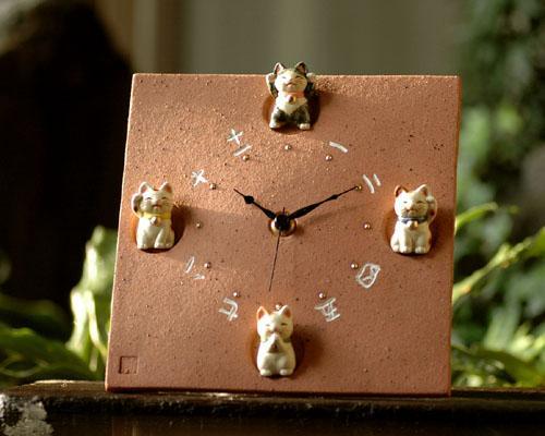 開店祝い 結婚祝い 絶品 出産祝い 年間定番 還暦祝い等に 招き猫 陶器 楽ギフ_のし 楽ギフ_メッセ 楽ギフ_メッセ入力 福々風水招き猫掛時計 掛け時計