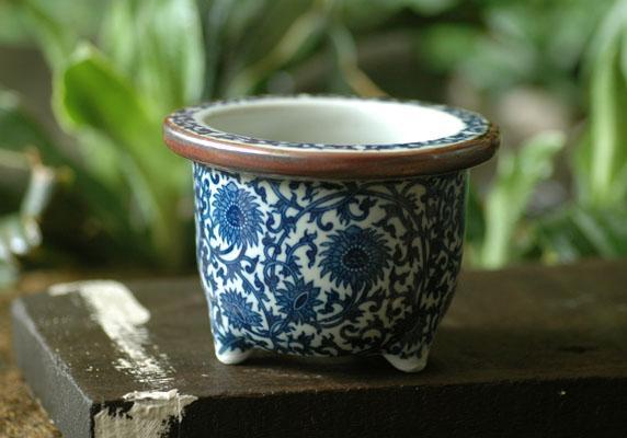 植木鉢 5号唐草丸 和風植木鉢 磁器 人気 おすすめ 並行輸入品 陶器 ミニ盆栽鉢