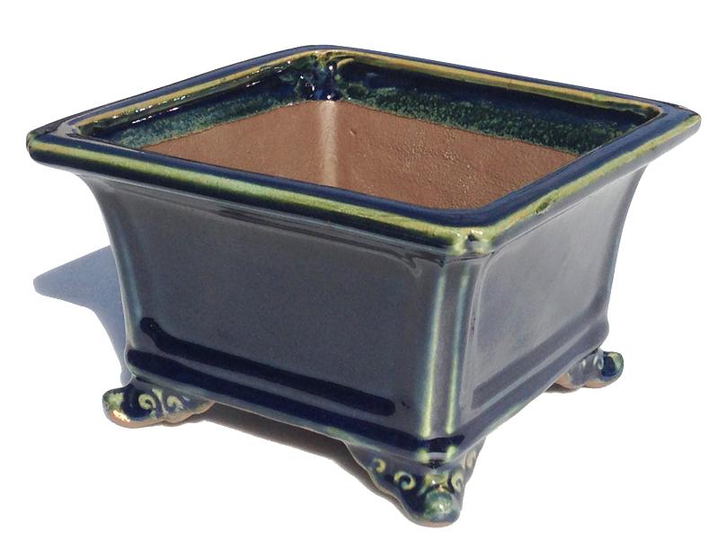 植木鉢 6号正角雲足 日本 ※植物は付きませんのでご注意 和風植木鉢 磁器 ミニ盆栽鉢 陶器 現品