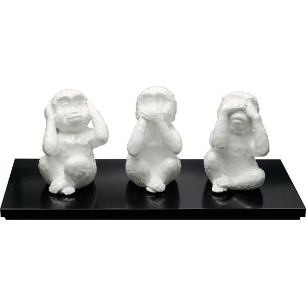 ボーンチャイナ 置物三猿(台付き)