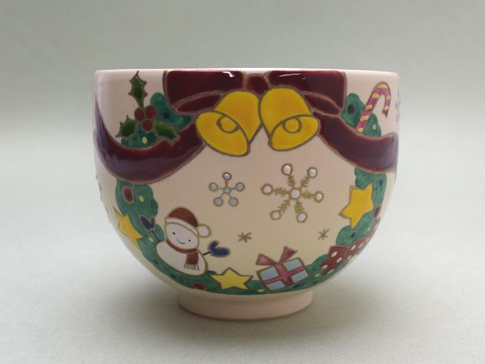 京都 清水焼加藤永山作 抹茶碗「クリスマスリース」(化粧箱入り)