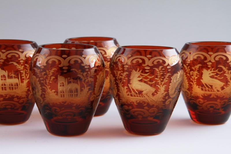 日元减少讨价还价捷克波希米亚玻璃叶格尔曼玻璃酒瓶设置 (1 瓶,玻璃 5)