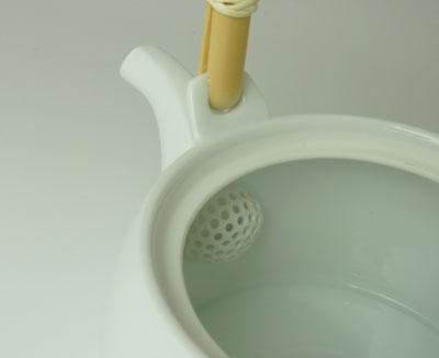 白山瓷茶茶壶 (不锈钢茶滤网用网) 白色