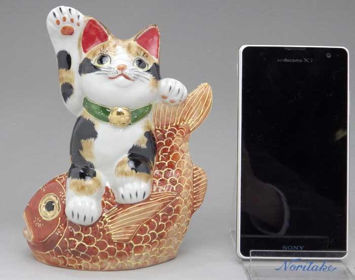 九谷焼鯛のり招き猫(三毛) 5号
