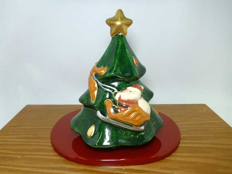 京都 楽入窯クリスマスツリー塗台付き