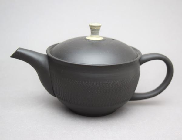 お茶スプーン付き!常滑焼 玉龍作茶っ切りポット(陶製茶漉しセラメッシュ)(290cc)