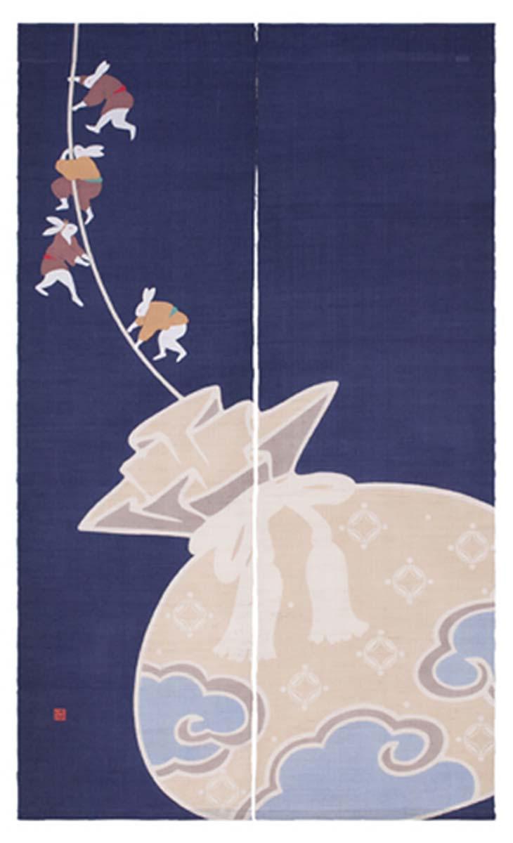【送料無料】<洛柿庵>(・)のれん「縁起兎」<150センチ>【正月】のれん【インテリア 細タペストリー】インテリア タペストリー【細 タペストリー】細タペストリー【タペストリー】タペストリー インテリア【インテリア 雑貨】