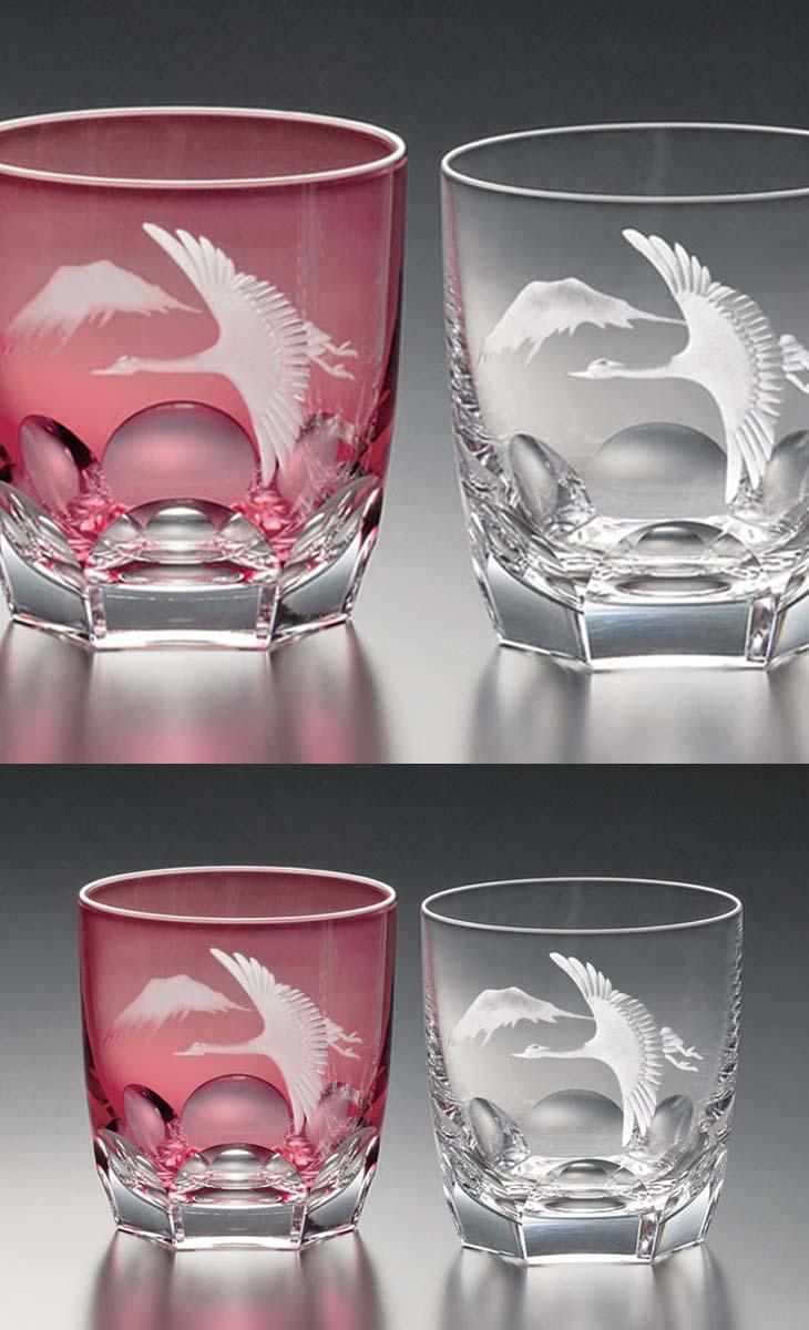 【クーポン!10%OFF!】+【送料無料】(・)カガミクリスタル「ロックグラス」(ペア2客セット)<鶴と富士山>(T8152-2738-AC)(木箱入)(270cc)各務クリスタル【江戸切子 ロックグラス】江戸切子 ロック グラス【ウィスキー グラス】ウィスキー グラス